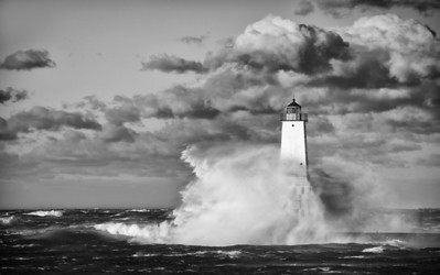 Lake Michigan storm at Frankfort Lighthouse